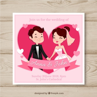 Wedding card invitation with couple in hand drawn style