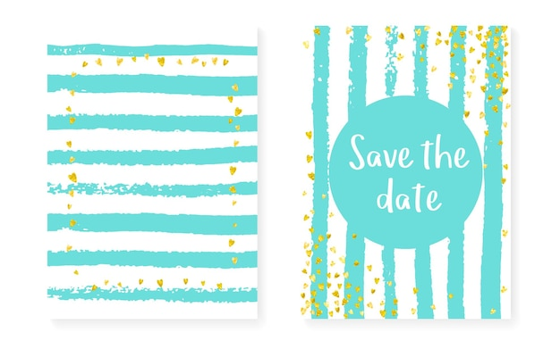 Wedding card invitation with dots and sequins. bridal shower set with gold glitter confetti. vertical stripes background. luxury wedding card for party, event, save the date flyer.