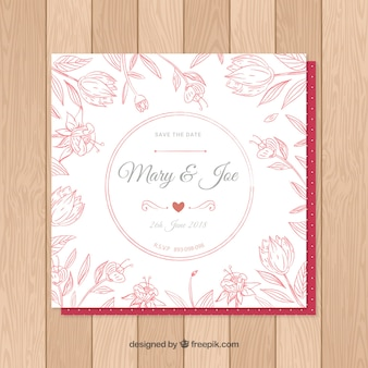 Wedding card invitation with floral ornaments