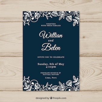 Wedding card invitation with flowers