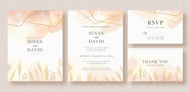 Wedding card invitation with foliages and splash watercolor
