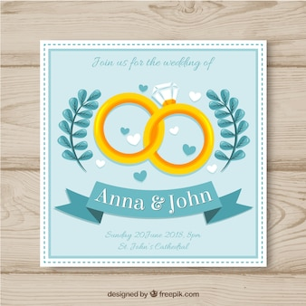 Wedding card invitation with rings in flat style