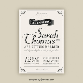 Wedding card invitation with vintage style