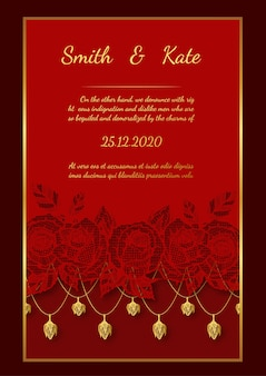 Wedding card lace style on red background.