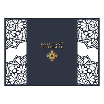 Wedding card laser cut template. vintage decorative elements