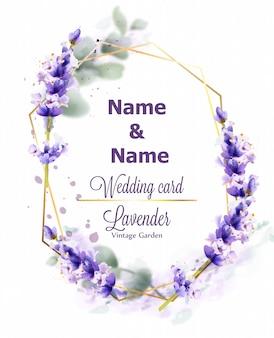 Wedding card lavender wreath watercolor