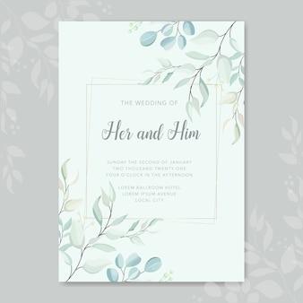 웨딩 카드 나뭇잎 프레임 벡터 템플릿