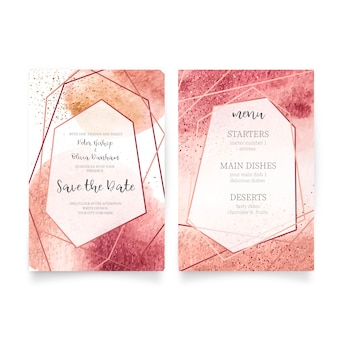 Wedding card & menu template
