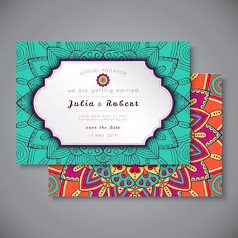 ウェディングカードまたは招待状。ヴィンテージ装飾要素。