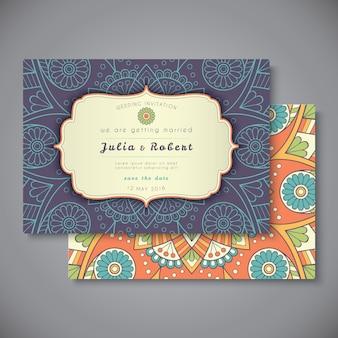 웨딩 카드 또는 초대장. 빈티지 장식 요소.