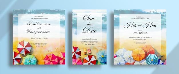 結婚式のカードの絵の水彩画の海景のトップビュー傘の恋人の招待カードセット