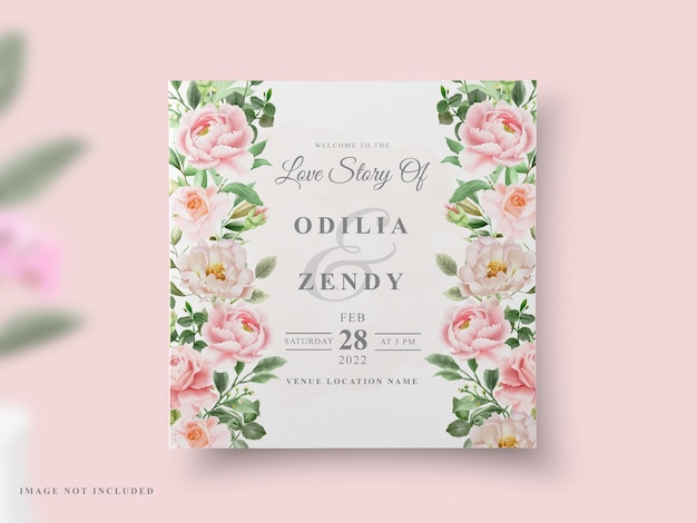 웨딩 카드 모란 수채화 디자인