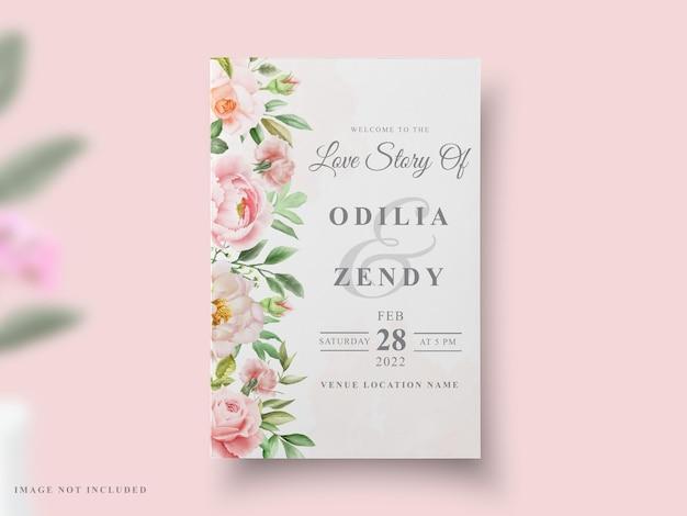 Свадебная открытка пион акварельный дизайн