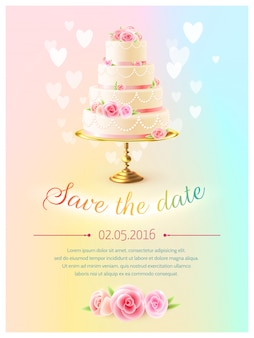 Wedding card realistic cake invitation