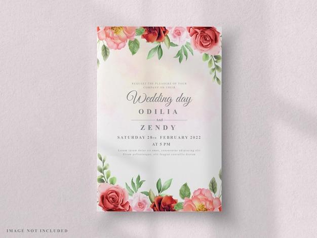 웨딩 카드 세트 붉은 장미와 모란