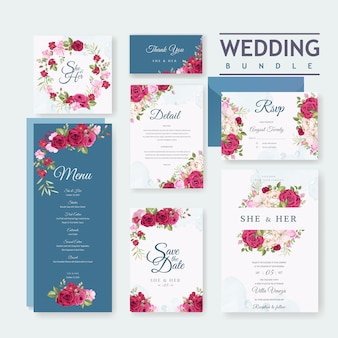 Wedding card set template with beautiful floral and leaves background