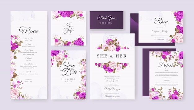 Wedding card set template with beautiful floral and leaves