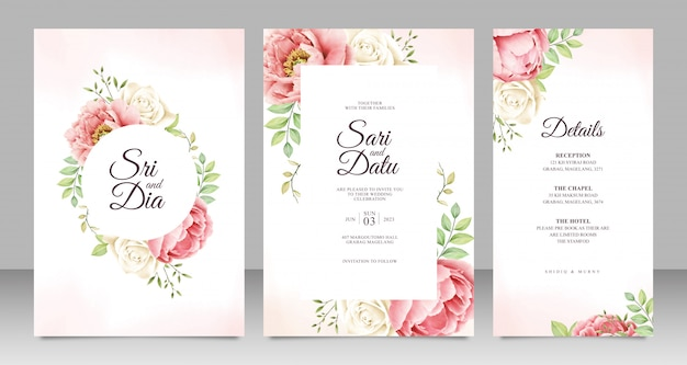 Wedding card set template with beautiful peony aquarel