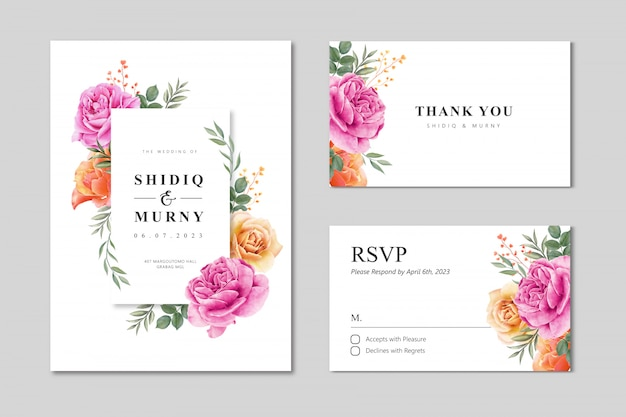 Wedding card set template with floral frame watercolor