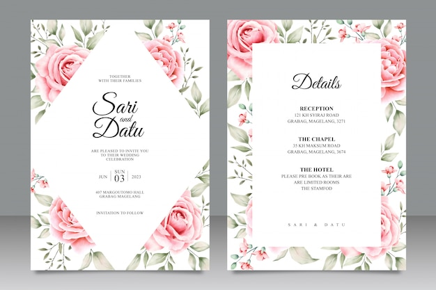 Wedding card set template with floral watercolor