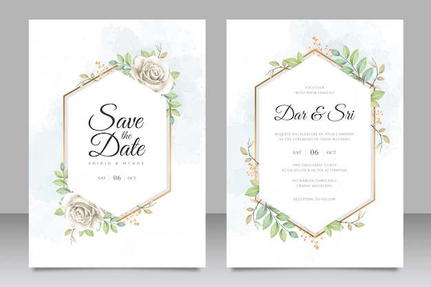 Wedding card set template with flowers and leaves watercolor