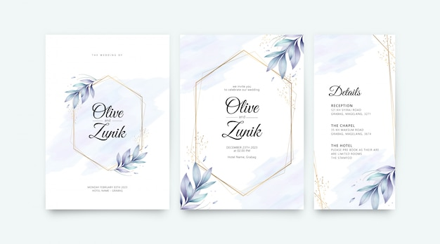Wedding card set template with golden geometric flowers and leaves watercolor