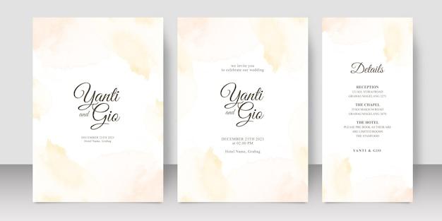 웨딩 카드 스플래시 수채화와 서식 파일을 설정