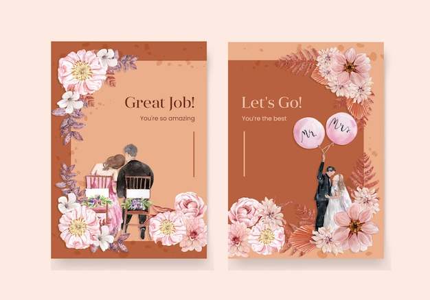 Wedding card set in watercolor style