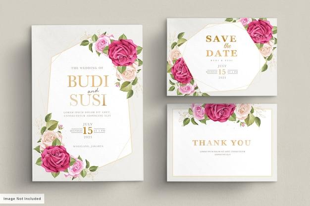 Carta di nozze con bellissimi fiori e foglie