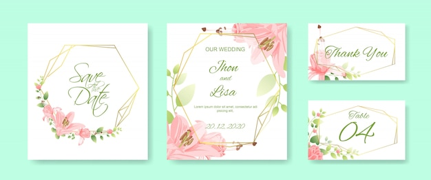 Wedding card set with beautiful flower