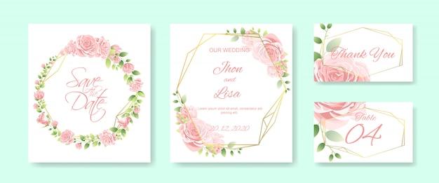 Wedding card set with beautiful flower