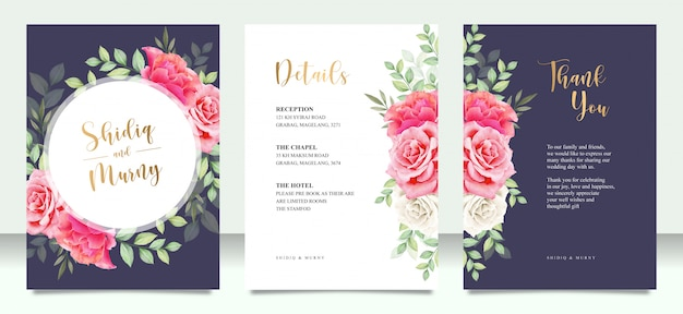 Wedding card set with flowers and leaves