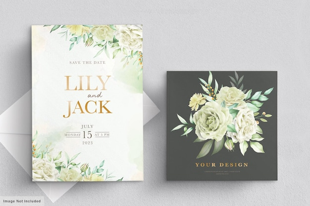 Wedding card set with green floral