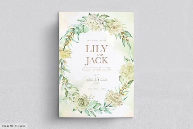 Carta di nozze con fiori verdi