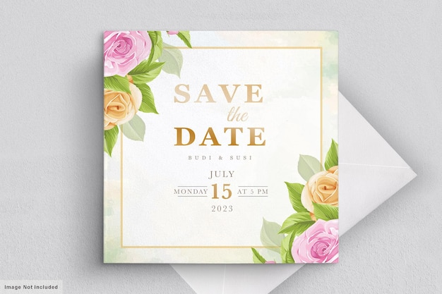 Wedding card set with pink floral