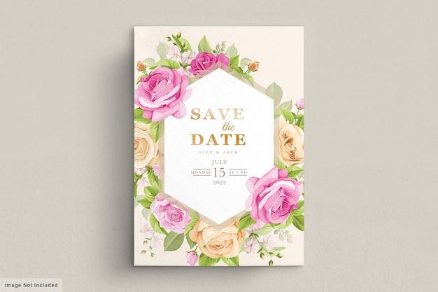 Свадебная открытка с розовыми цветами