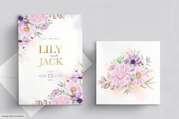 부드러운 국화 꽃 세트 웨딩 카드