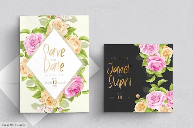부드러운 핑크 장미와 웨딩 카드 세트