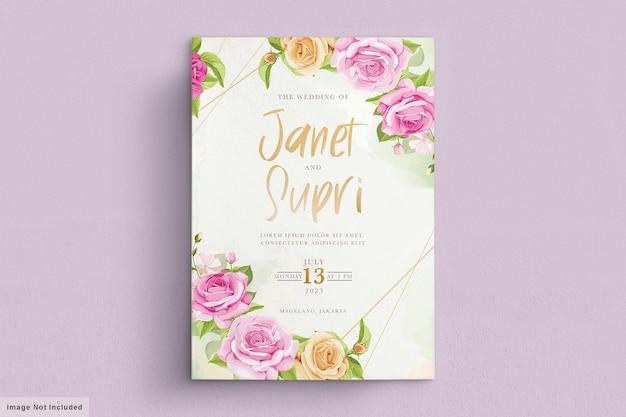柔らかいピンクのバラがセットされたウェディングカード