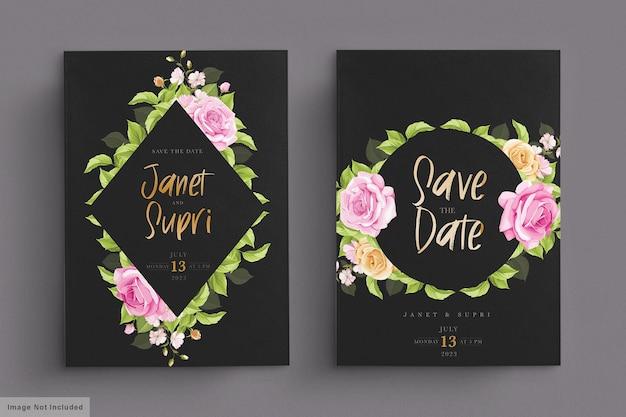 Свадебный набор открыток с нежными розовыми розами