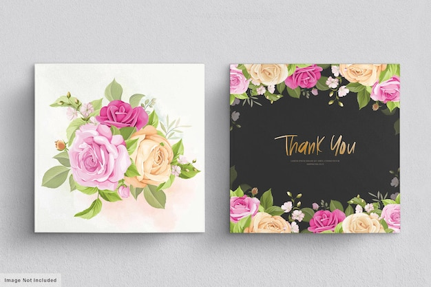 Wedding card set with soft pink roses