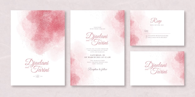 Wedding card set with splash watercolor
