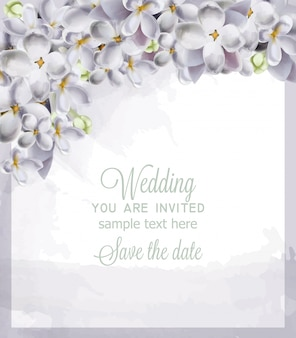 Wedding card spring hydrangea flowers