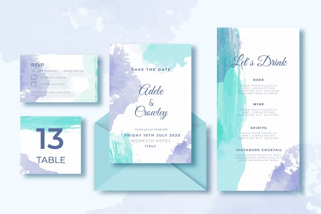 Wedding card template collection and envelope