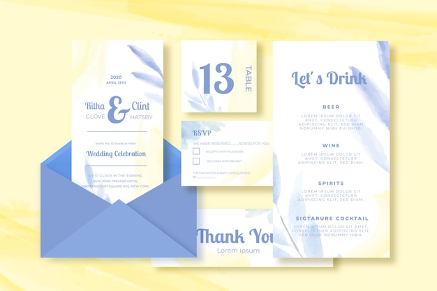 Wedding card template collection on yellow background
