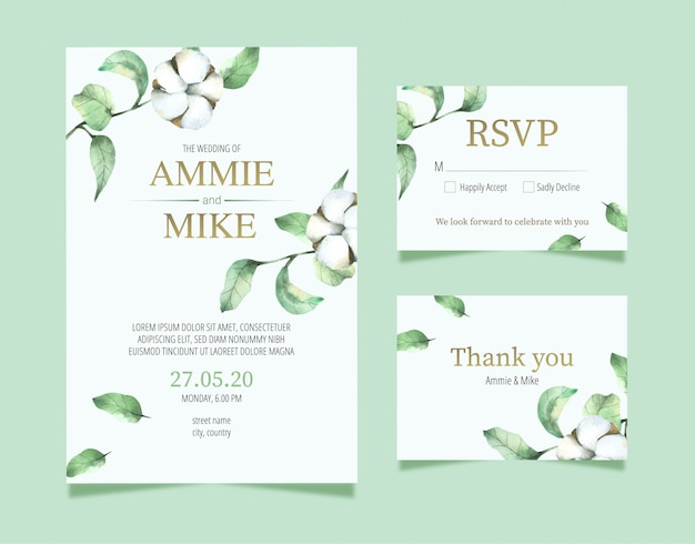 Wedding card template cotton flower hand drawn in watercolour