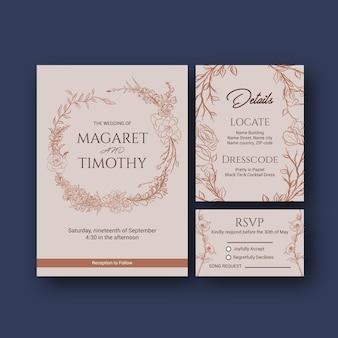 招待状と結婚ベクトルイラストの結婚式カードテンプレートデザイン。
