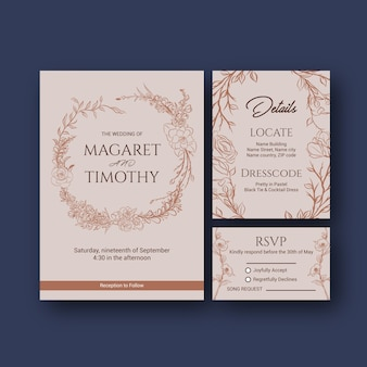Wedding card template design for invitation and marriage vector illustration.