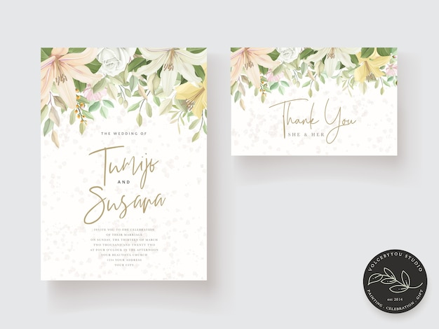 Wedding card template floral design