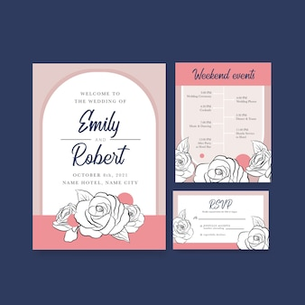 招待状と結婚のためのウェディングカードテンプレート